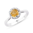 Citrine and diamond 14kt gold ring