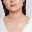 TEARDROP SAPPHIRE NECKLACE WITH DIAMONDS - SAPPHIRE NECKLACES -