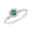 Emerald engagement ring in white gold