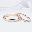 Diamond wedding rings in rose gold