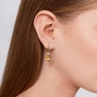Citrine and diamond earrings in yellow gold