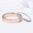 Wedding rings in white and rose gold