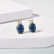 Sapphire and diamond 14kt gold earrings