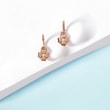 Children's diamond clover earrings in rose gold