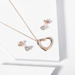 Diamond heart earring and pendant set in rose gold