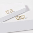 Diamond heart earrings in yellow gold