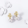 DIAMOND AND PEARL EARRINGS IN YELLOW GOLD - PEARL EARRINGS -
