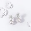 Diamond and pearl earrings in white gold