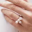 6 mm freshwater pearl ring in white gold