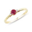 Gold ring with ruby ​​and diamonds