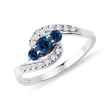Blue sapphire and diamond engagement ring in 14kt gold