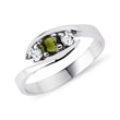 Moldavite and diamond ring in 14kt gold