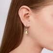 Lemon quartz and diamond earrings in yellow gold