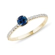 Sapphire engagement ring in yellow gold