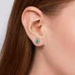 Emerald and diamond earrings in white gold