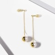 HANGING PEARL EARRINGS IN YELLOW GOLD - PEARL EARRINGS -