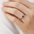 GARNET AND DIAMOND RING IN WHITE GOLD - GARNET RINGS - RINGS