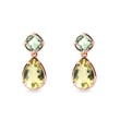 Lemon quartz and green amethyst earrings in yellow gold