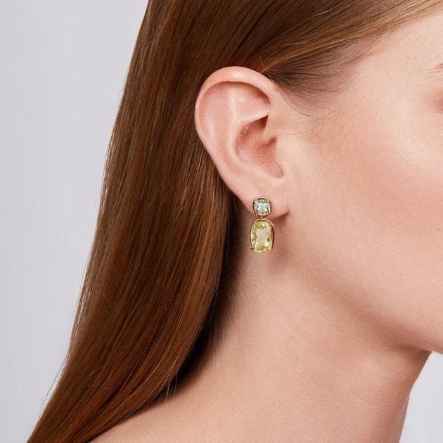 Twin Green Amethyst /& Lemon Quartz Silver Earrings.