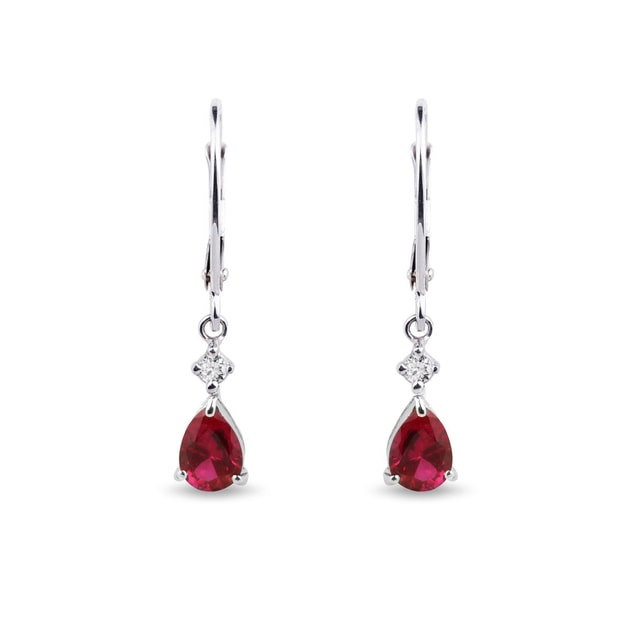 Ruby and diamond pendant earrings in 14kt gold