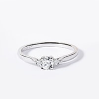 White gold engagement ring with 3 diamonds