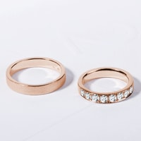 Rose gold wedding rings - ring for her with diamonds