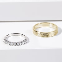 Yellow and white gold wedding rings - ring for her with diamonds