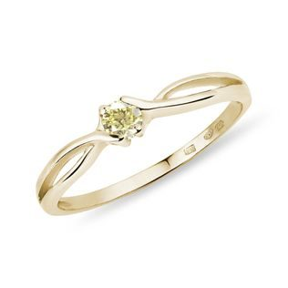 Yellow diamond ring in yellow gold
