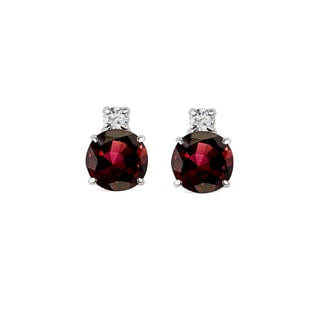 Garnet and diamond earrings in white gold