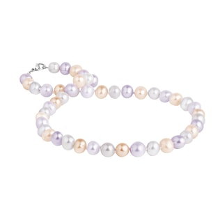 Multi-coloured pearl necklace