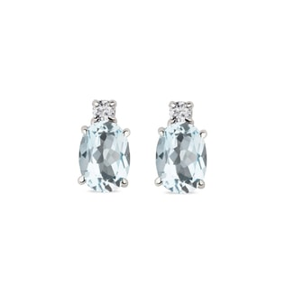 Aquamarine and diamond earrings in 14kt white gold