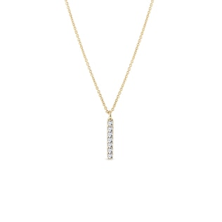 Diamond vertical bar pendant in yellow gold