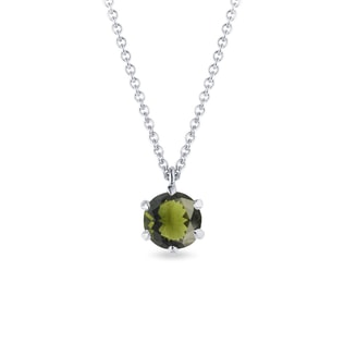 Moldavite pendant in white gold