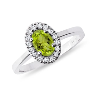 Olivine and diamond ring in white gold