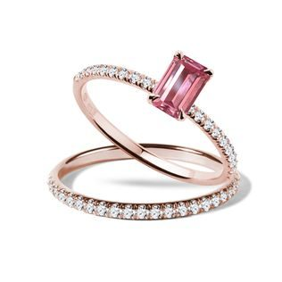 Tourmaline and diamond engagement set in rose gold