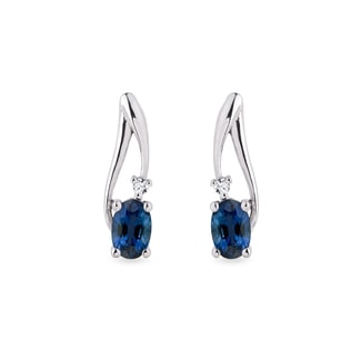 Sapphire and diamond earrings in 14kt white gold