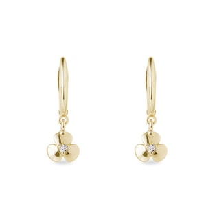 Sharmrock diamond pendant earrings in yellow gold