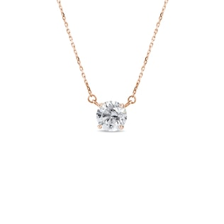 Necklace in rose gold with a diamond