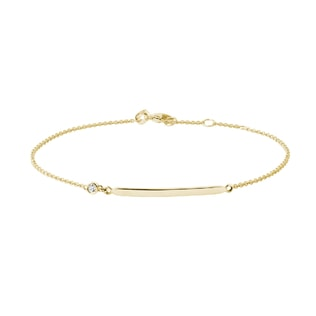 Minimalist diamond bar bracelet in yellow gold