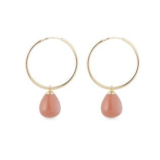 Orange moonstone earrings in gold