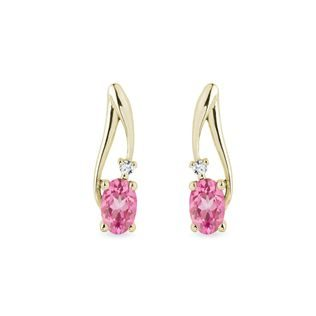 Pink sapphire and diamond earrings in gold