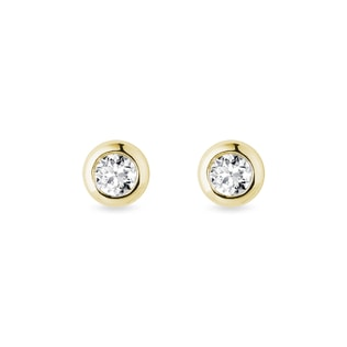 Puces d'oreilles lunette en or et diamants 3 mm