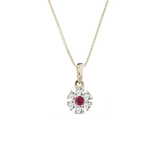 Necklace in yellow gold with diamonds and a ruby