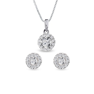 Diamond halo earring and necklace set in white gold