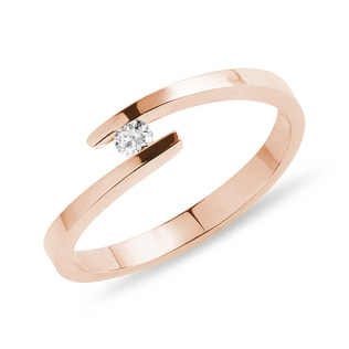 A diamond ring in pink gold