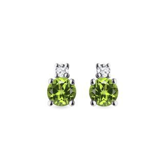 Diamond and peridot earrings in white gold