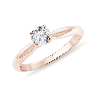 Solitaire or rose et diamant
