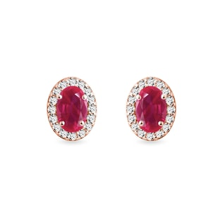 Ruby and diamond earrings in rose gold