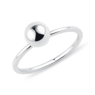 Golden ball ring in white gold