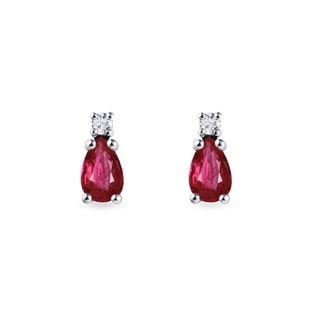 Gold earrings with rubies and diamonds